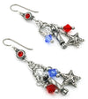 red white blue independence day earrings