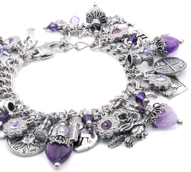 witch charm bracelet purple