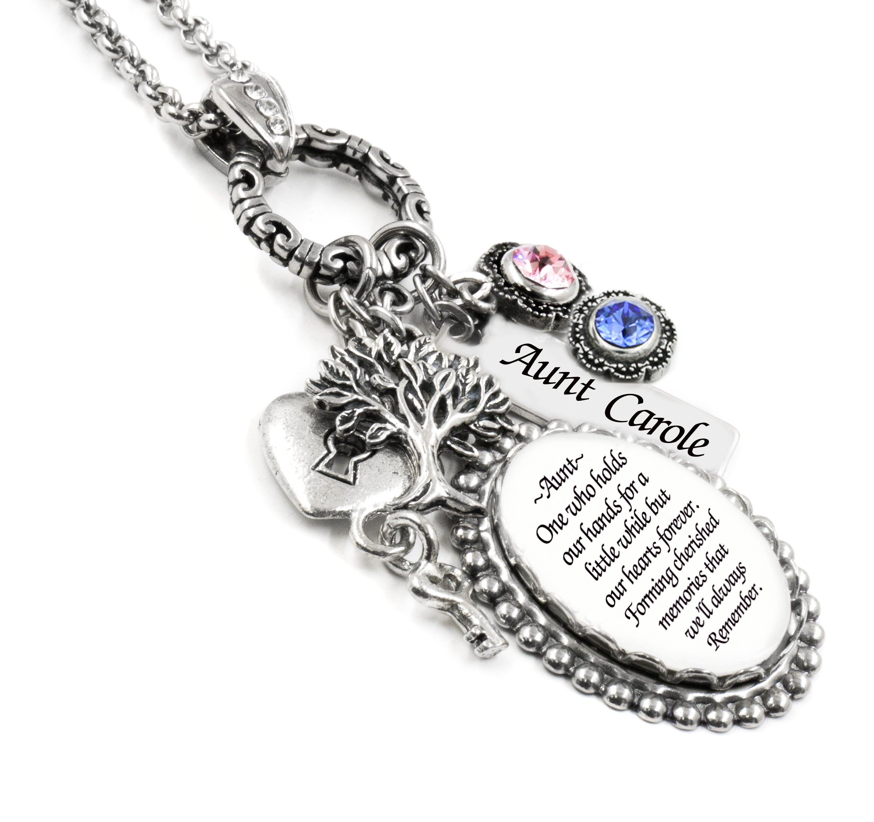 Gift For Aunt With Quote With Personalized Name Charm And