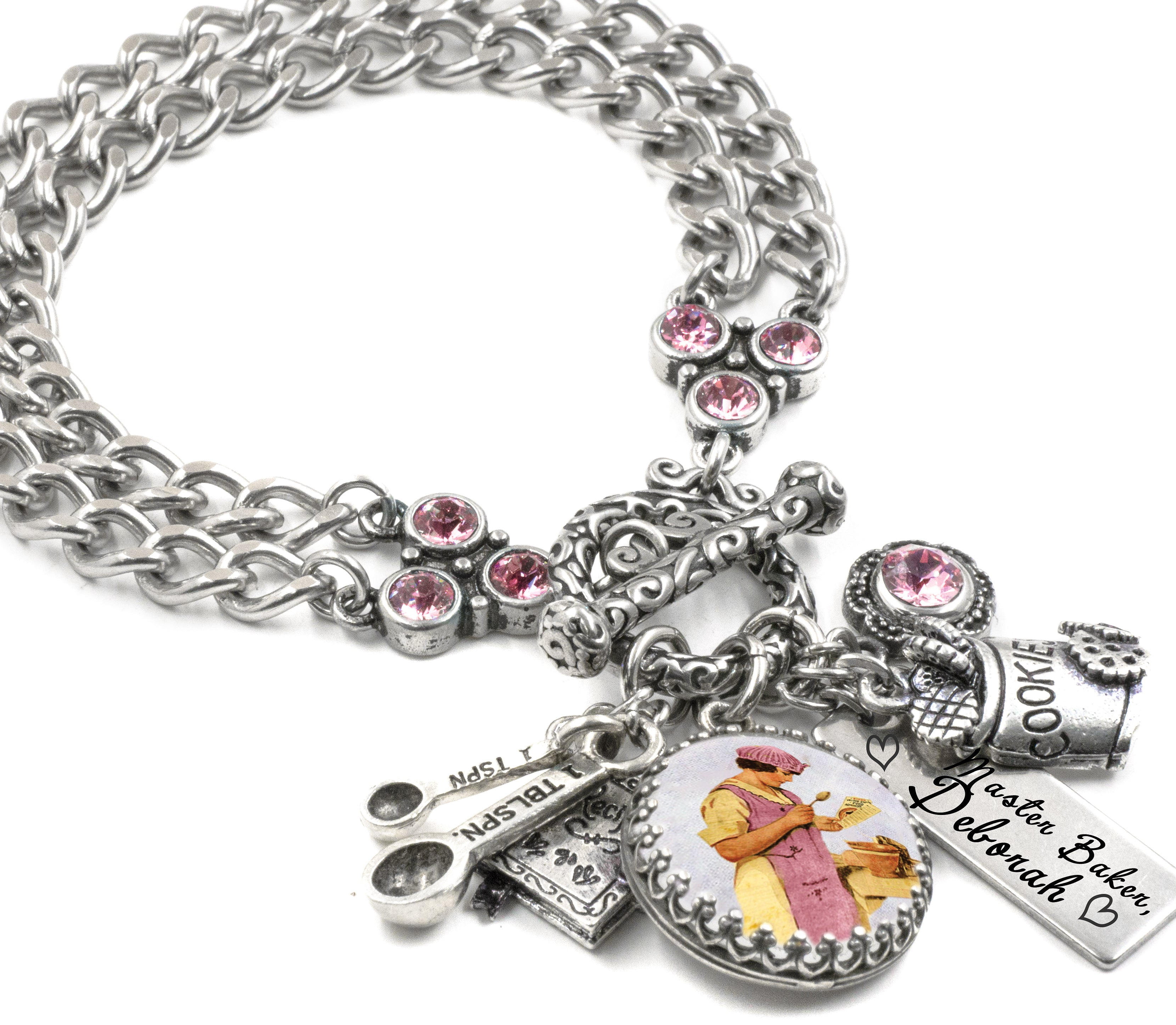 335983110 Gift for Baker, Baking Charm Bracelet, Personalized Name Jewelry ...