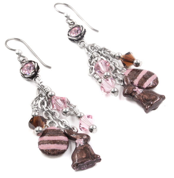 chocolate rabbit earrings