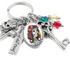 day of the dead keychain in stainless steel