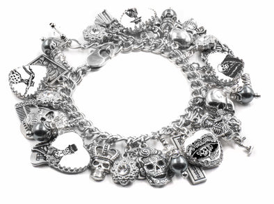 Day of the Dead Charm Bracelet with Black Pearls