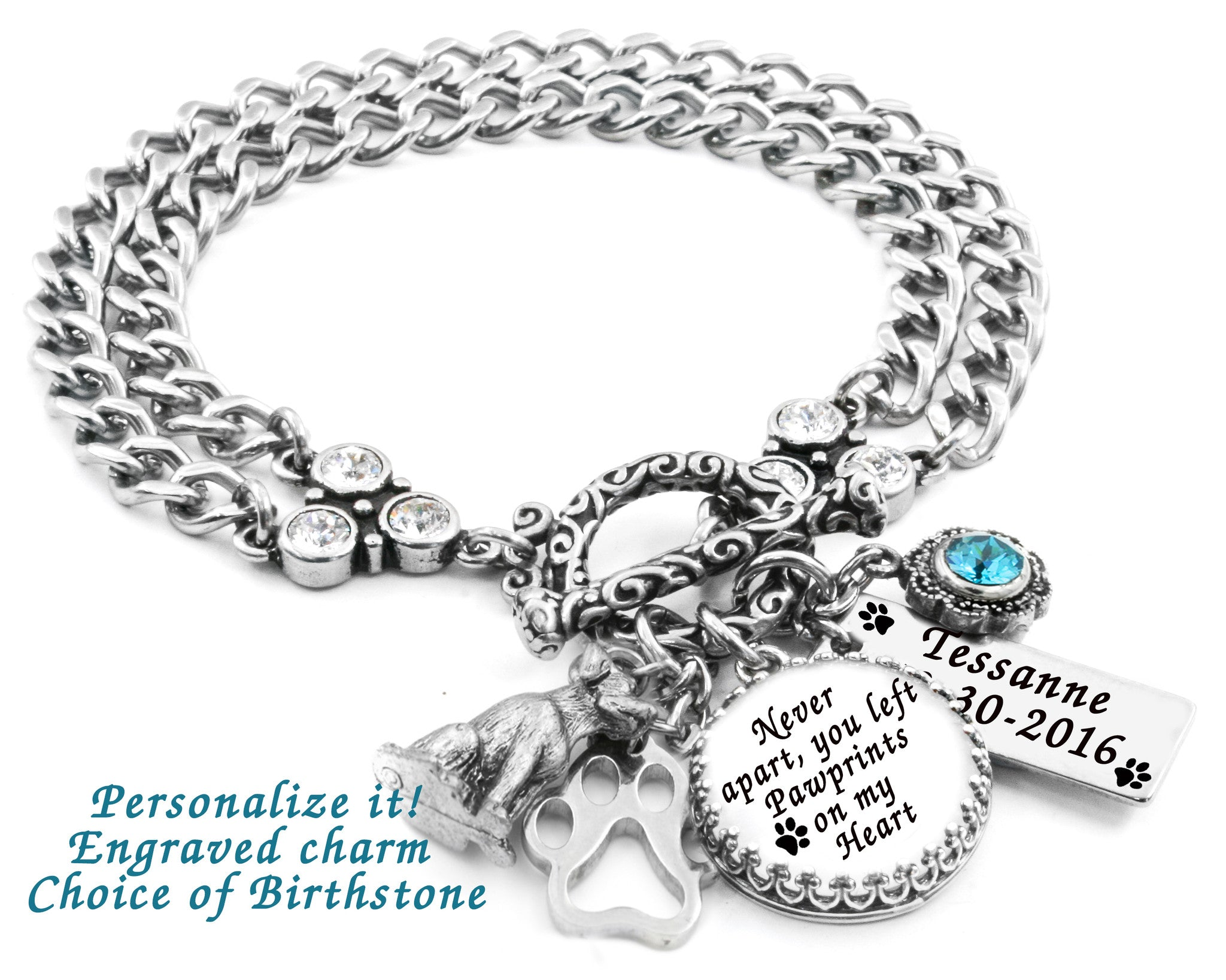 Personalized Dog Breed Jewelry Engraved Dogs Name Pet Breed Charm Custom Pet Silhouette Bracelet