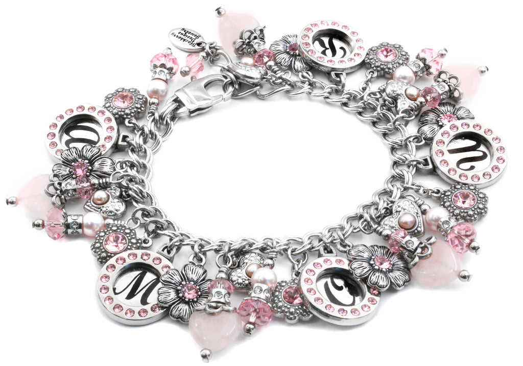 amour bracelet, pink hearts, valentines day