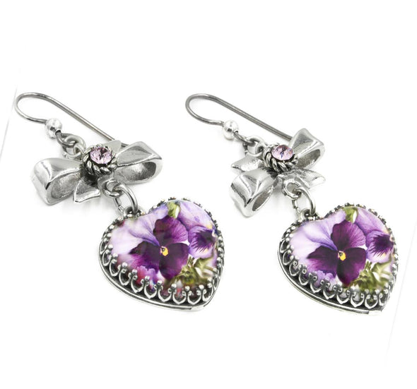 purple pansy heart earrings