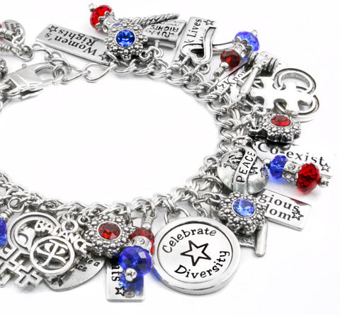 Red, White and Blue charm bracelet