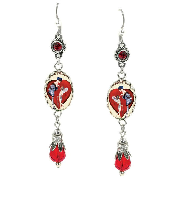 red teardrop earrings with crystals