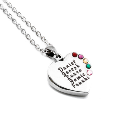 kids birthstone necklace with heart