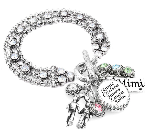 Mothers Birthstone Bracelet with Childrens Names