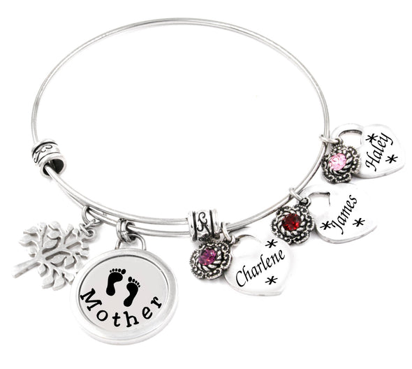 Mother's Handmade Bangle Bracelet with Childrens Birthstones in stainless steel