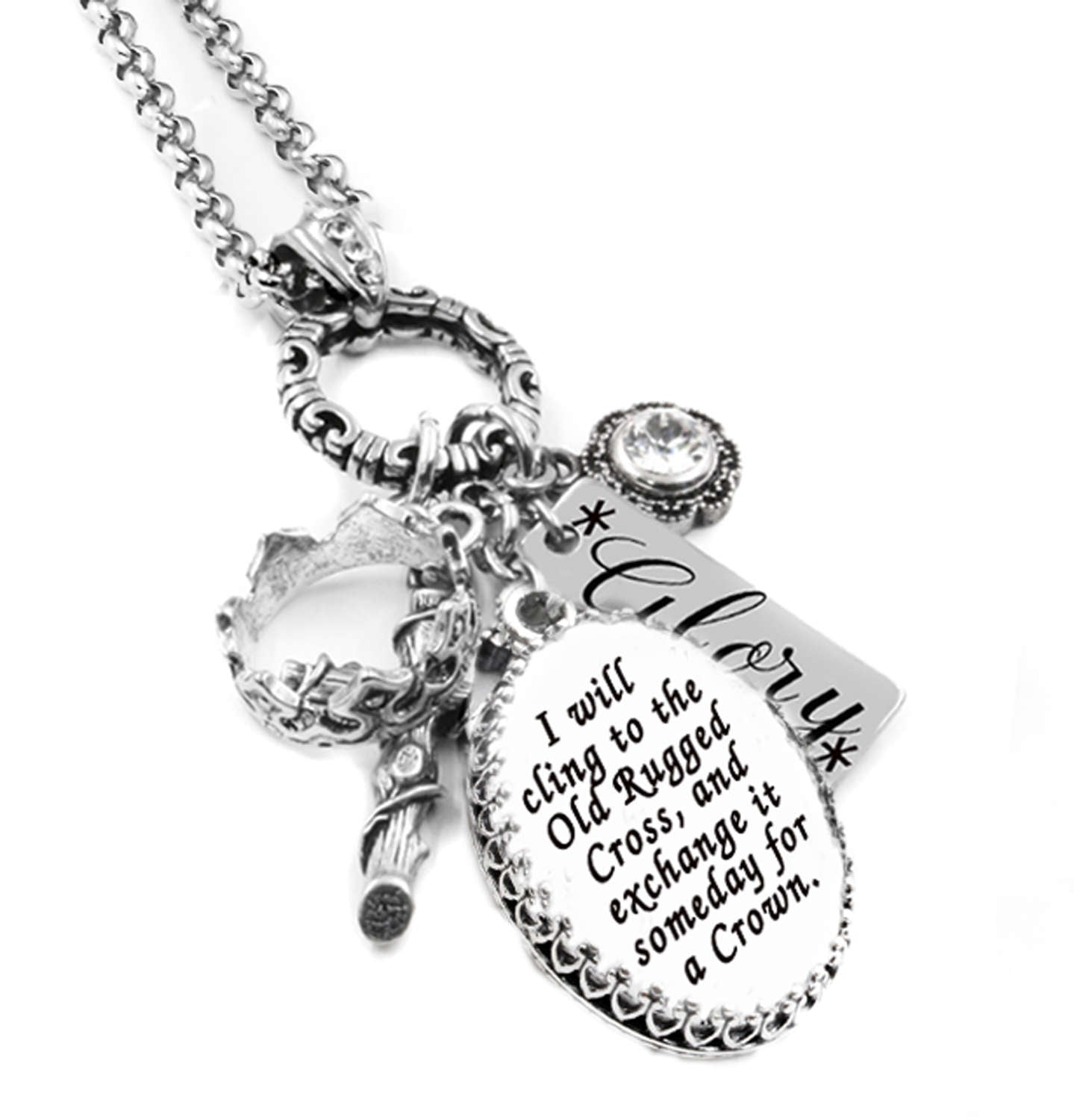 Old Rugged Cross Charm Necklace Christian Faith Hope Love