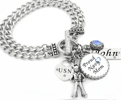 navy mom marine airforce charm bracelet