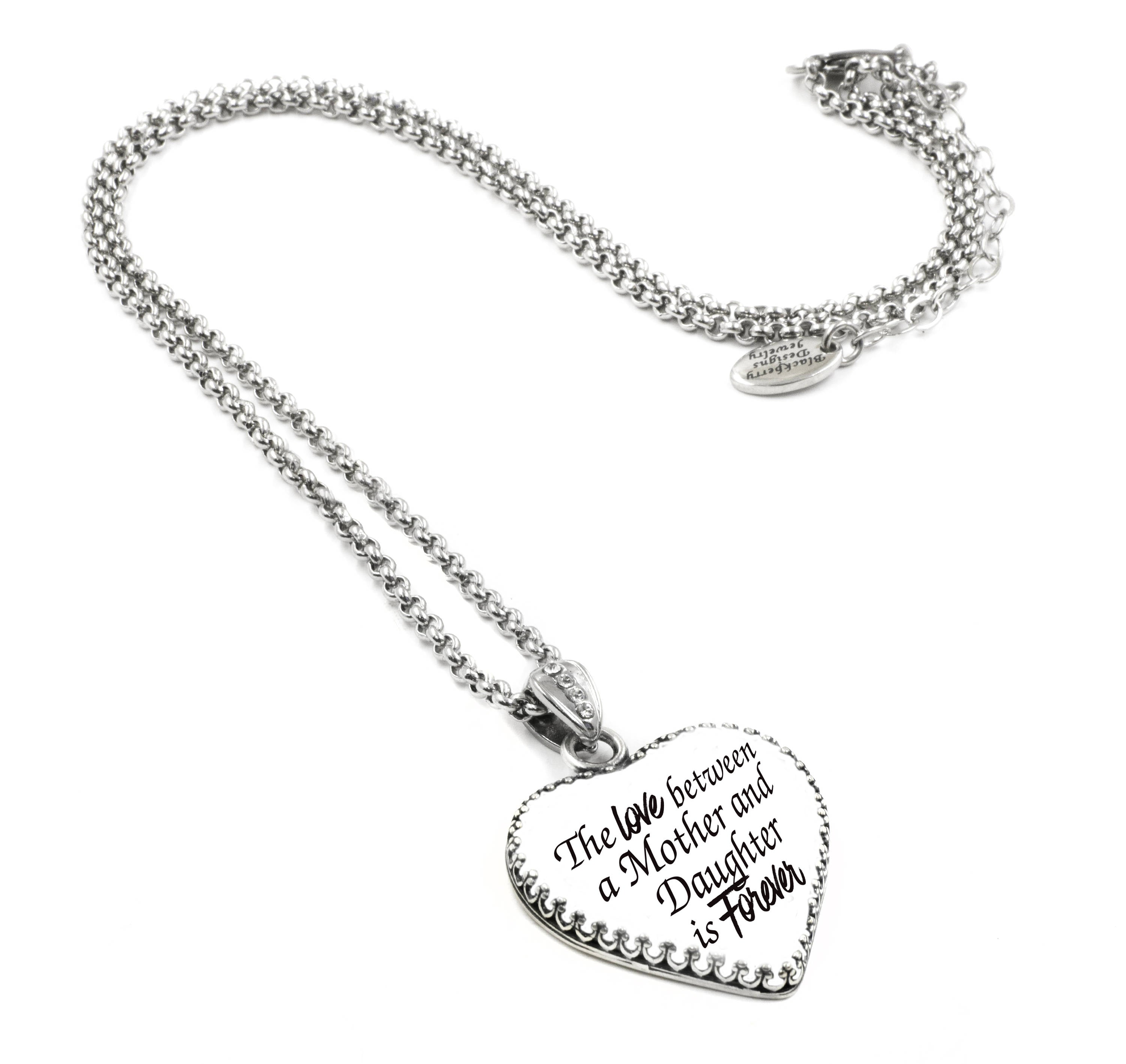 Mother and daughter gift in a sterling silver heart with swarovski mother daughter forever heart pendant aloadofball Gallery