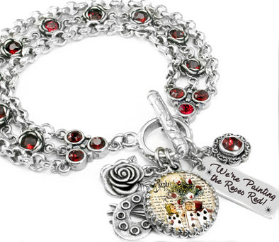Alice in wonderland red rose bracelet