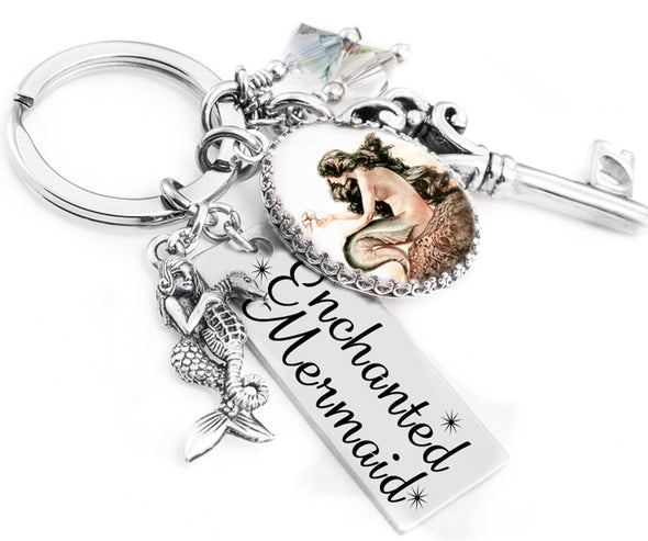 mermaid keychain, mermaid jewelry