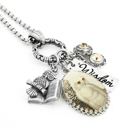 owl charm necklace wise