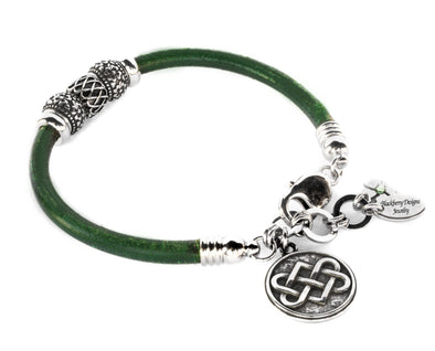 celtic leather charm bracelet