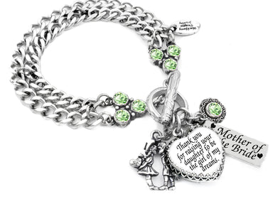mother of the bride engraved Personalized charm bracelet