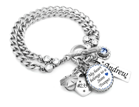 state trooper charm bracelet personalized name