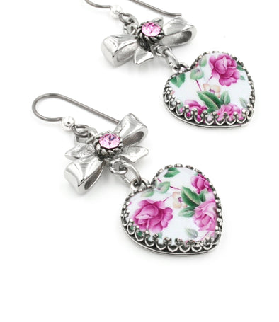 Pink Rose Heart Earrings