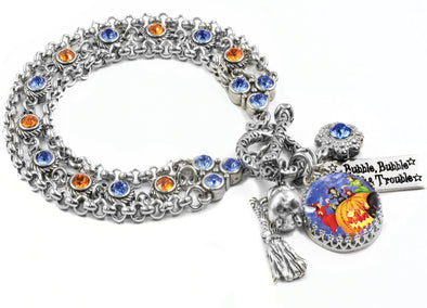 orange and blue halloween bracelet
