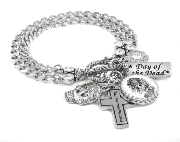 day of the dead silver charm bracelet