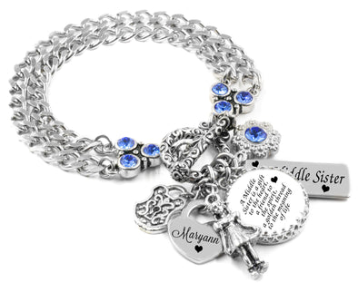 Personalized Sisters Charm Bracelet, Middle Sister