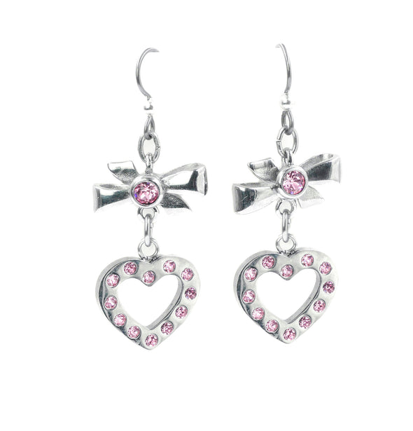 pink swarovski crystal heart earrings