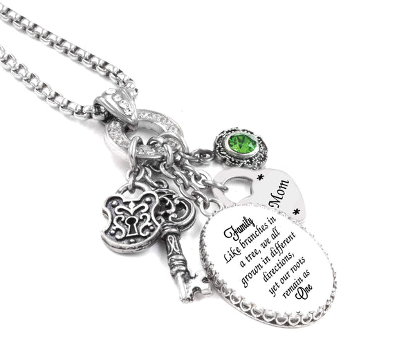 family like branches of a tree quote necklace
