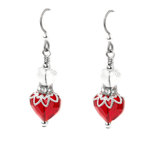 red crystal heart earrings, valentines day