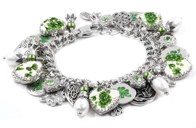 Irish Four Leaf Clover Pearl Bracelet