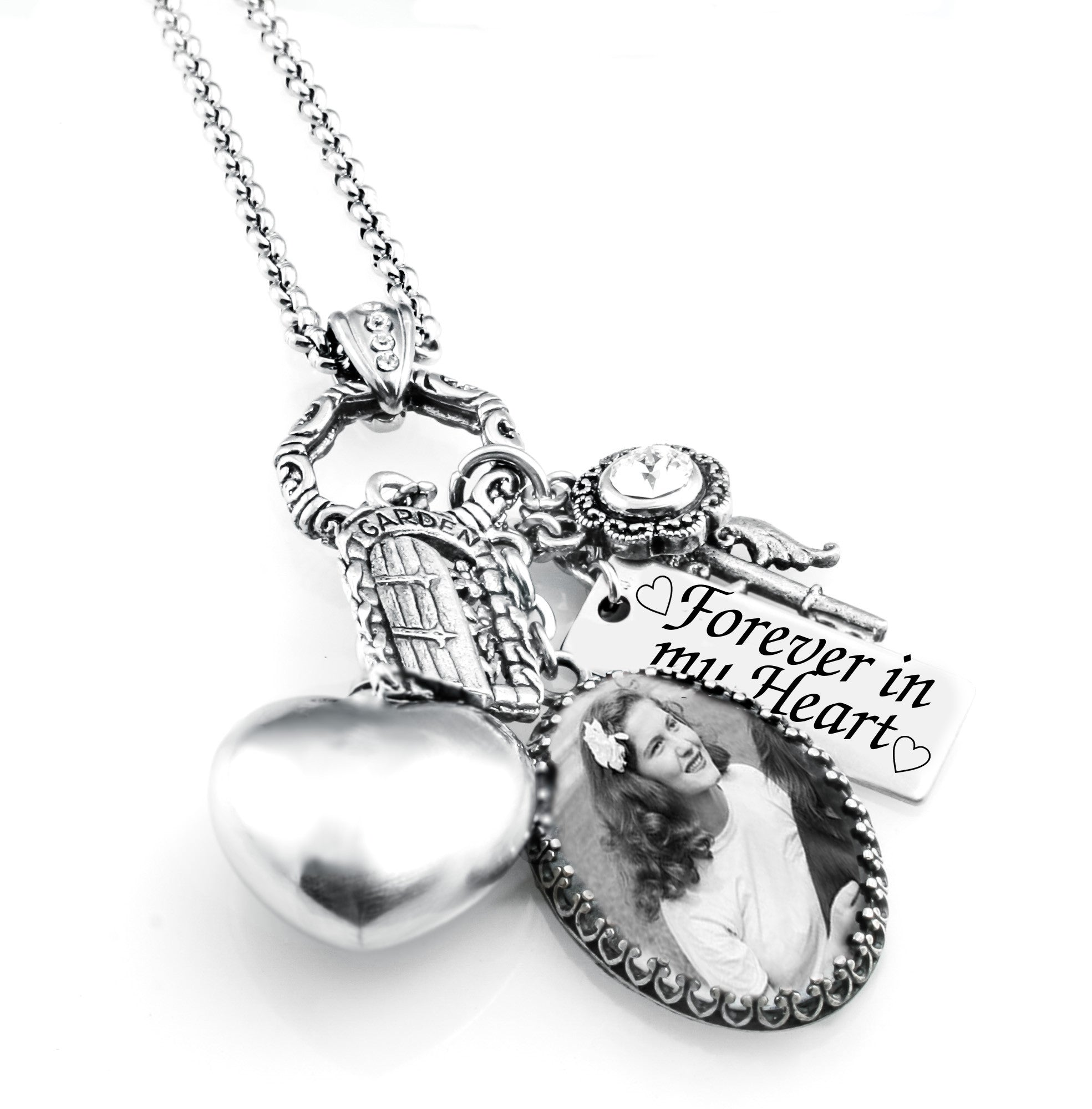 engraved custom necklace stainless steel pendant memorial fingerprint