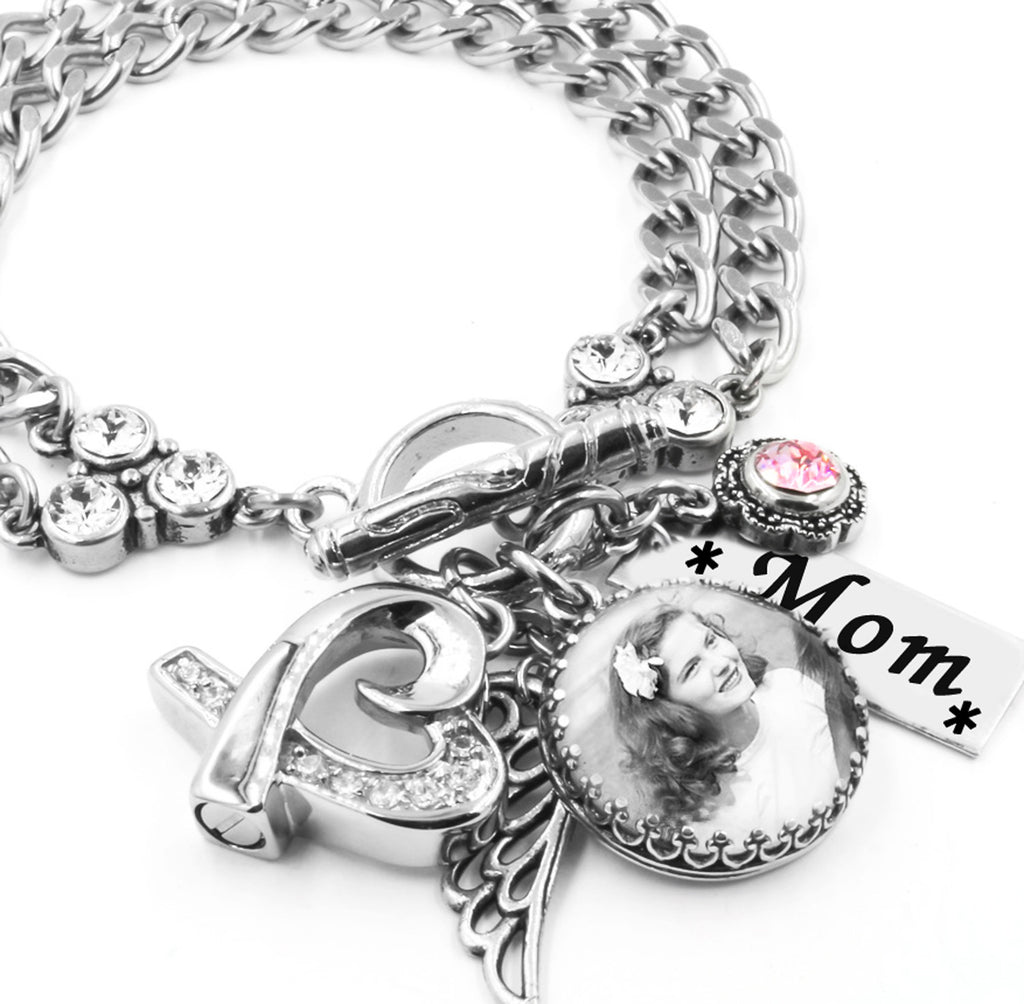 cremation urn jewelry bracelet with personalized photo