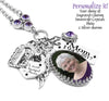 Memorial Photo Pendant with charms, quote, birthstone in stainless steel