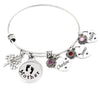 mother bangle bracelet with childrens names and birthstones