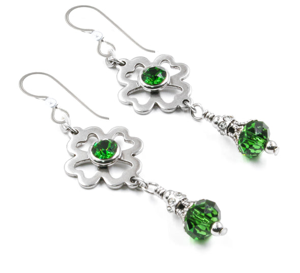 irish earrings, 4 leaf clover