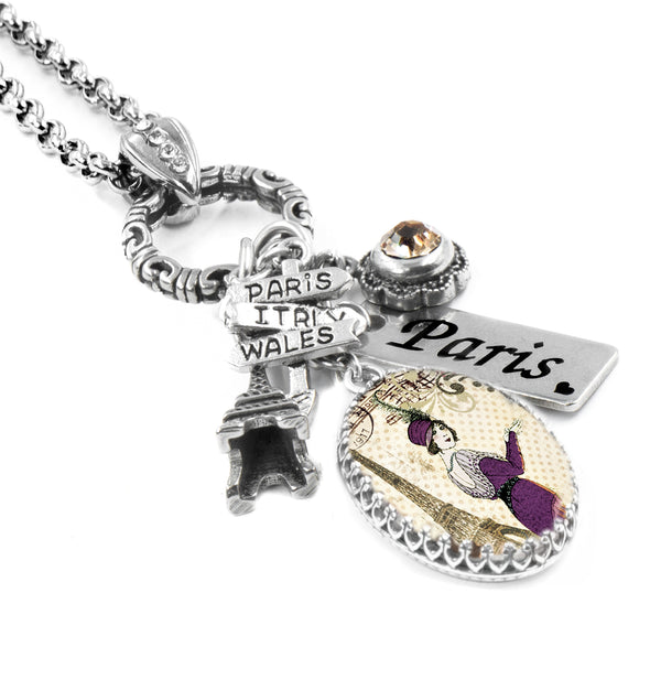 handmade paris charm necklace
