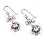 Silver Rose Earrings with choice of Birthstone