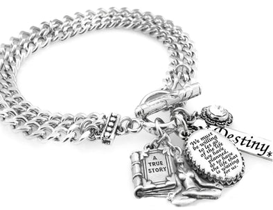 Inspirational Charm Bracelet,  We Must be Willing to Let Go