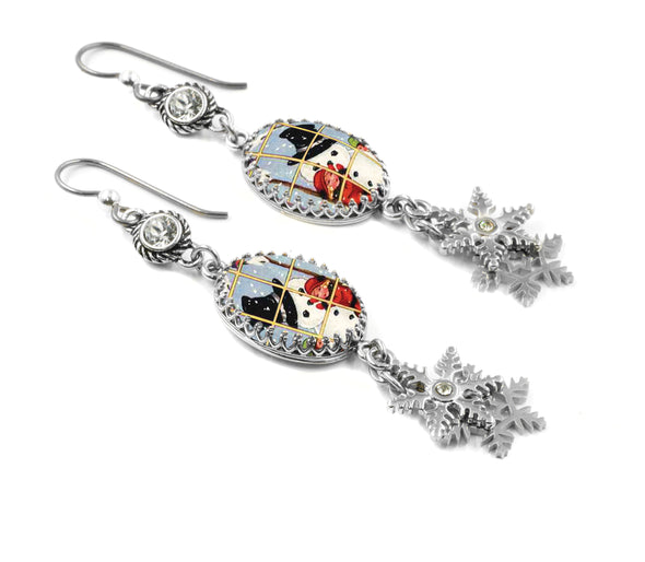 Snowman Winter Sterling Silver Earrings