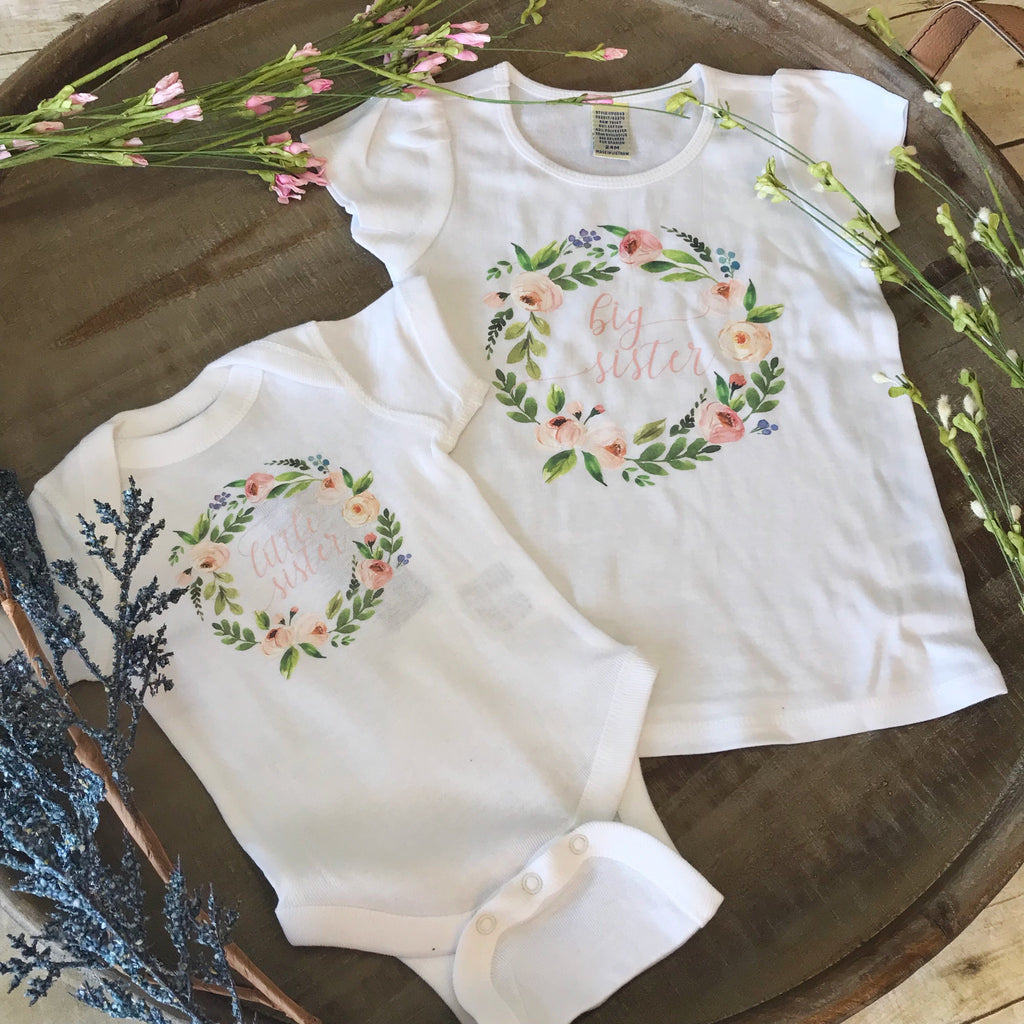 Peony Wreath Big Sister Shirt