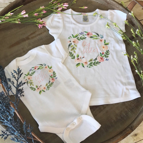 Peony Wreath Little Sister Bodysuit