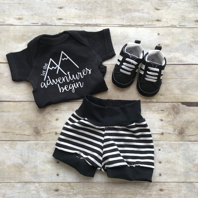 Black/White Stripe Shorts