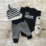 Black & Cream Stripe Leggings
