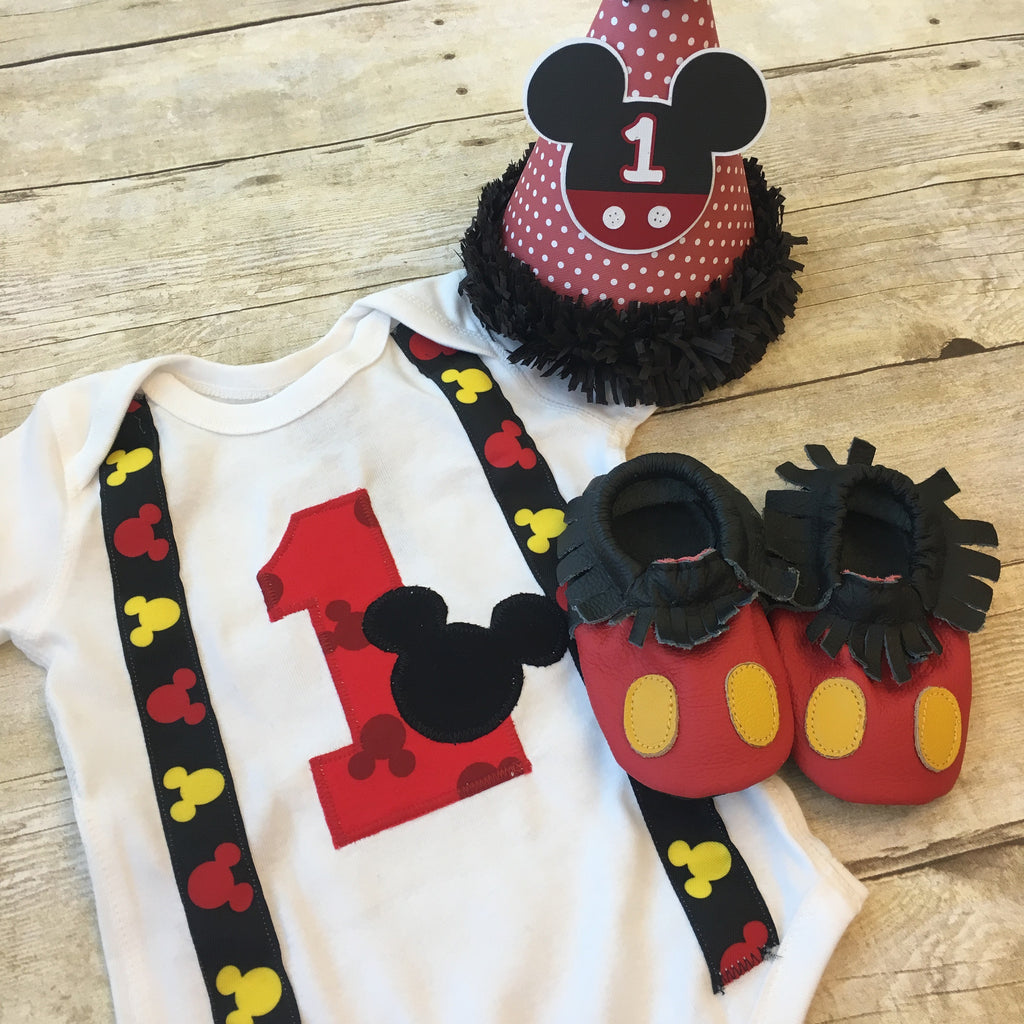 Mickey Mouse 1st Birthday Onesie Pipsqueaks Boutique