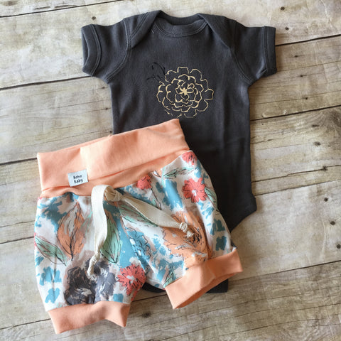 Paper Flower Print Shorts