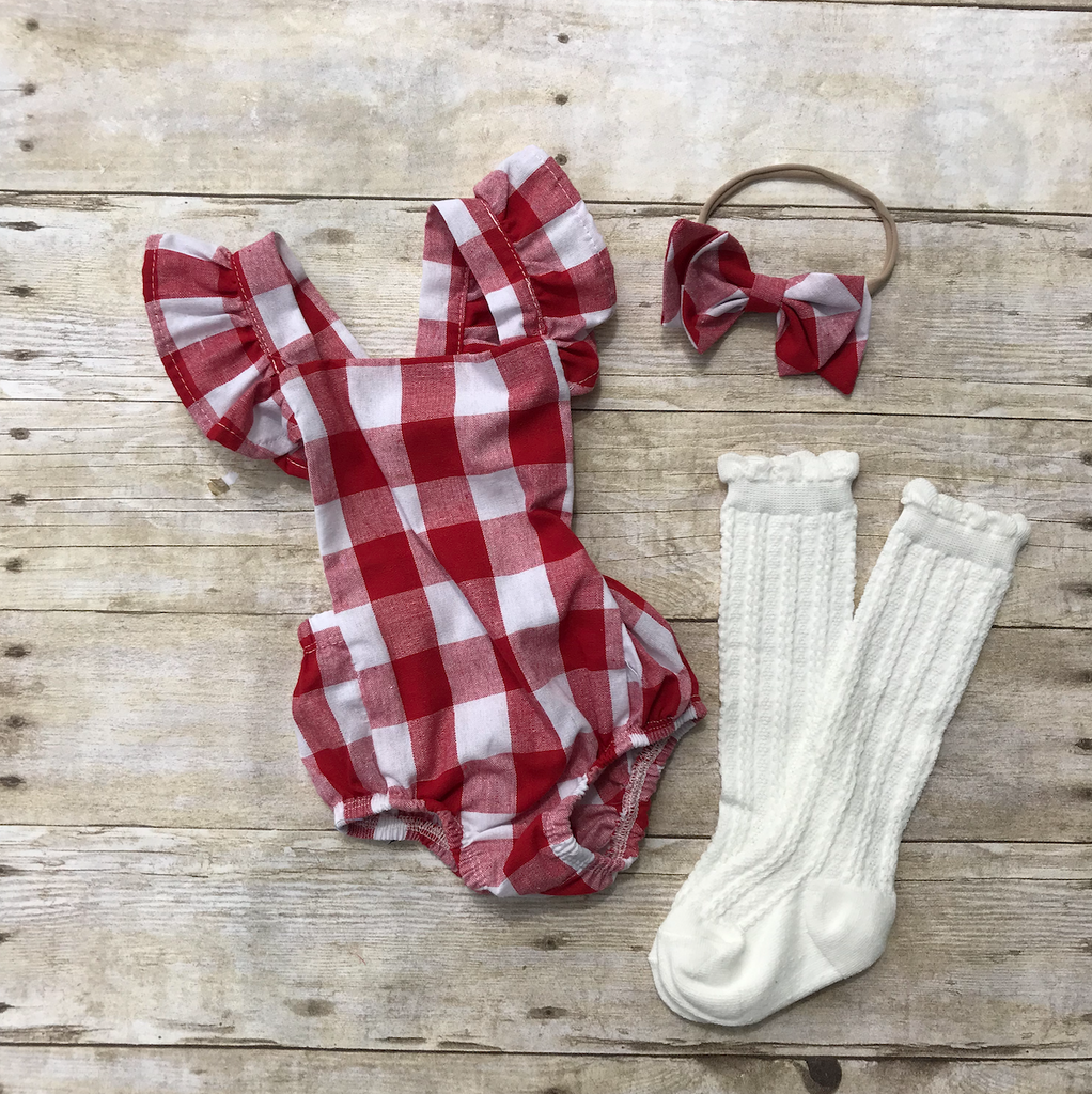 Red & White Checkered Romper