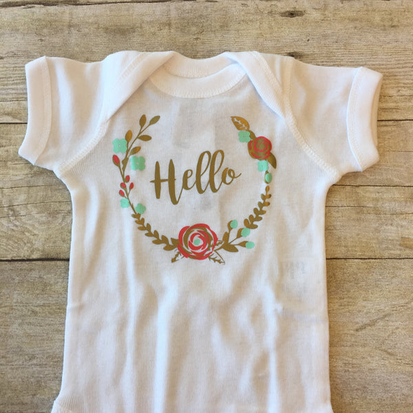 Hello with Wreath Bodysuit