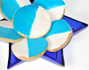 One Dozen Chanukah-Themed Cookies (Blue & White)